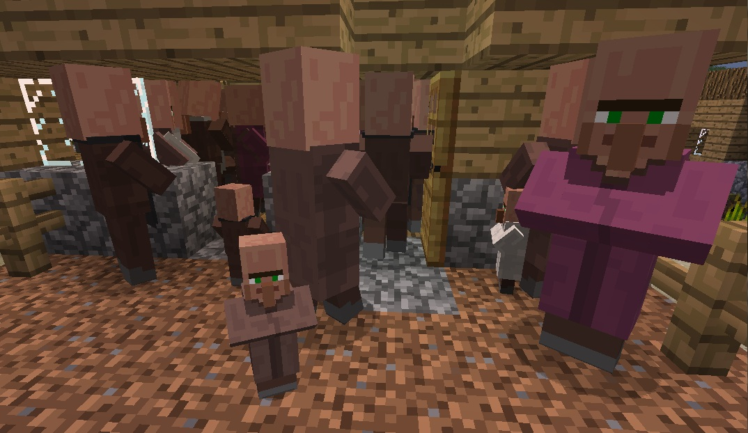 baby minecraft villagers clustering in a crazy lump of villagers