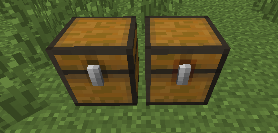 Normal chest on the left, trapped chest on the right.
