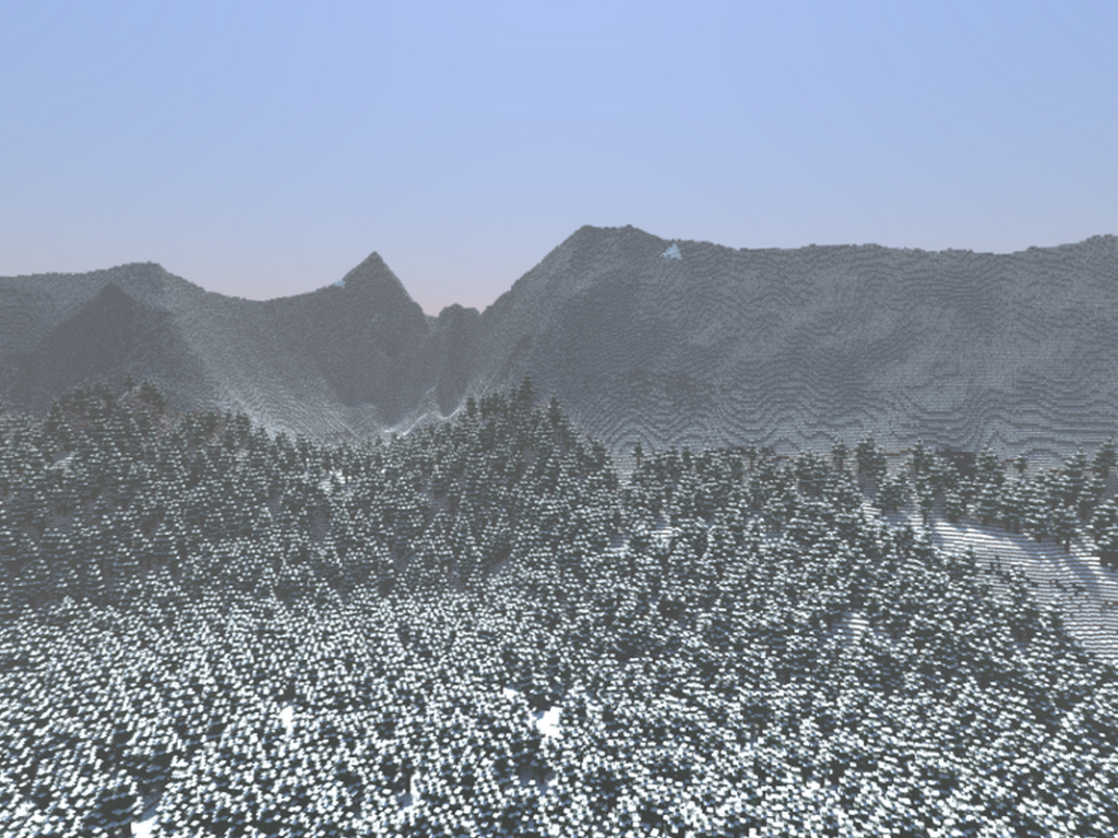 minecraft snowy mountain range