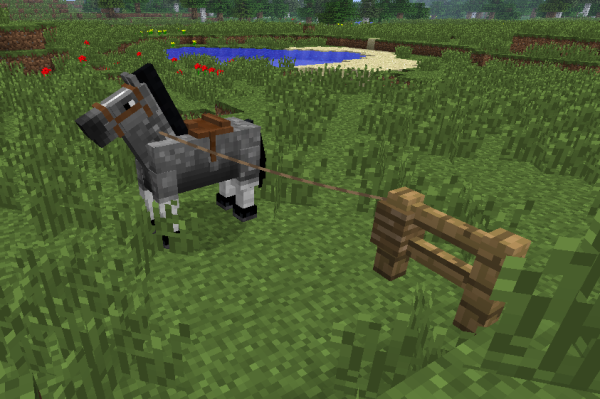 tethered minecraft horse